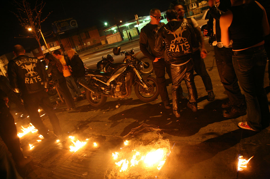 East Bay Rats Motorcycle Club / Oakland / Erm, the sidewalk's on fire